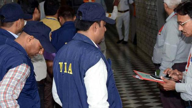 A team from the National Investigation Agency (NIA) during an inspection in July 2017.(HT File Photo)