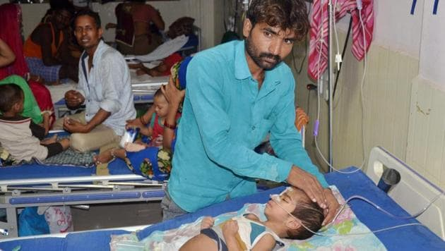 An inside view of a ward of BRD Hospital in Gorakhpur on Friday where More than 60 children died in a week since August 9, allegedly due to oxygen supply cut on Friday.(PTI)