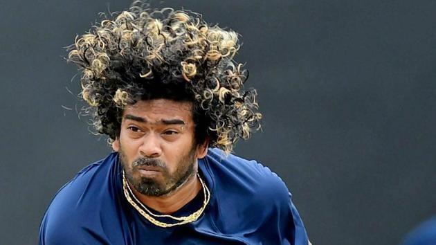 Sri Lanka pacer Lasith Malinga bowls during a practice session at Rangiri Dambulla Cricket Stadium on Saturday(PTI)