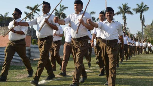 Gujarat has around 1,000 shakhas, the daily gathering of RSS workers that includes prayer and physical activities.(Adarsh Gupta/HT File Photo)