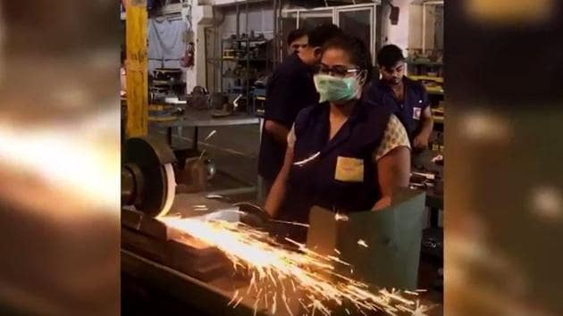 A woman at work in a steel factory in Jhajjar district in Haryana. (Photo courtesy: Videograb from IndiaSpend)