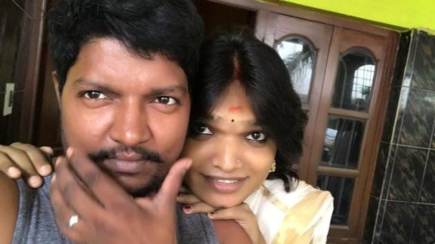 Aarav Appukuttan, 46, a woman who is now a man, and Sukanyeah Krishna, 21, who was born a man and is now a woman, met each at a Mumbai hospital.(HT)