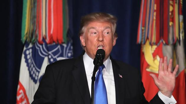 US President Donald Trump delivers remarks on Americas military involvement in Afghanistan at the Fort Myer military base on August 21, 2017 in Arlington, Virginia.(AFP Photo)