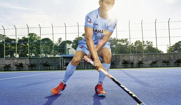 Manpreet Singh has been leading the national hockey team as captain since May 2017. (Manpreet wears the 'Hockey India' national colours playing kit and shoes from Adidas. Make-up and hair by Madhura Iyli)(Photos shot exclusively for HT Brunch by Prabhat Shetty)
