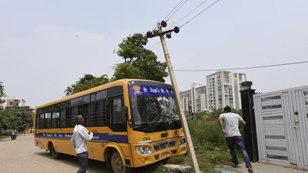 The bus driver was away when the conductor got behind the steering wheel. He could not control the vehicle and hit an electric pole.(Sanjeev Verma/HT PHOTO)