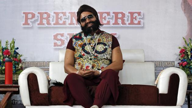 In this May 17, 2017 file photo, the spiritual guru, who calls himself Saint Dr. Gurmeet Ram Rahim Singh Ji Insan, attends the premiere of the movie 'Jattu Engineer' in New Delhi, India. The court convicted the flamboyant leader in a case of raping two of his followers, prompting thousands of supporters camped out near the courthouse to shout angry protests(AP)