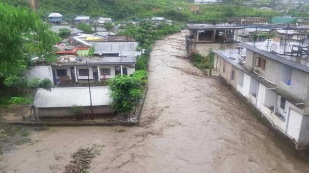 An orphanage was washed away due to flash floods at Karong, while mudslides destroyed at least seven houses at Chakhumei, both located along NH-2 in Senapati district.(HT)
