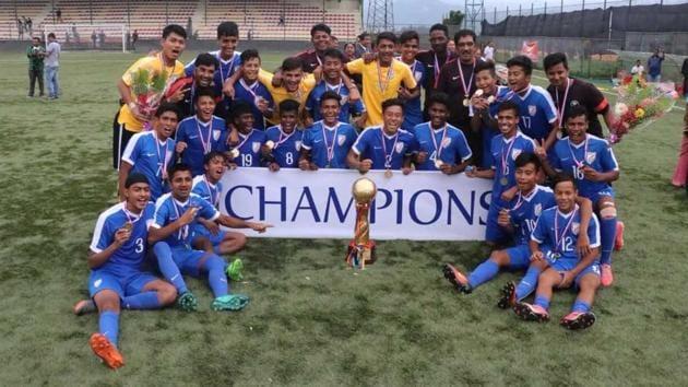 Indian U-15 football team won the SAFF Championships title in Kathmandu.(AIFF)