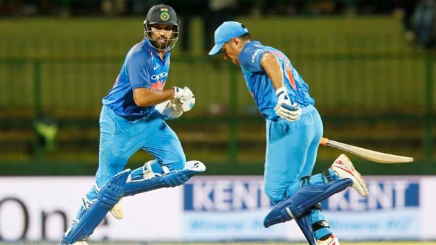 Rohit Sharma and MS Dhoni shared a brilliant stand for India against Sri Lanka in Pallekele on Sunday. Get full cricket score of India vs Sri Lanka, 3rd ODI, Pallekele here(REUTERS)