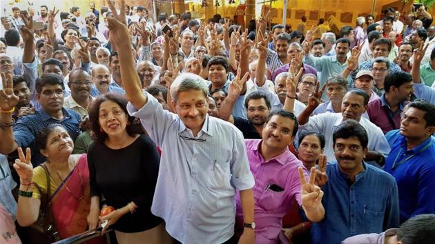 Goa Chief Minister Manohar Parrikar with his supporters on the way to file nomination papers for Panaji seat by-election last week. He won by almost 5000 votes.(PTI)