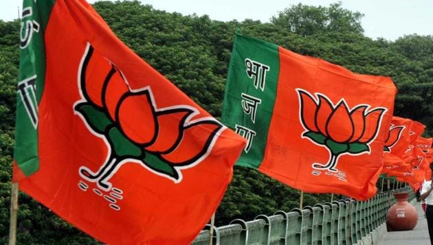 BJP party flag in Pune, India, on June 18, 2016.(HT File Photo)