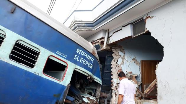 Coaches of the Puri-Haridwar Utkal Express after it derailed and ran into a house near Muzaffarnagar, August 20, 2017. What most people mean by private entry is the private sector running trains. On this, will we contemplate locomotive drivers from the private sector and safety (not to be confused with security) handled by the private sector?(Chahatram / Hindustan Times)