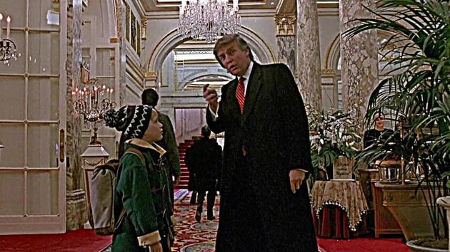 Donald Trump and Macauley Culkin in a scene from Home Alone 2: Lost in New York.