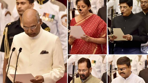 President Ram Nath Kovind administers the oath to the newly inducted Cabinet Ministers Nirmala Sitharaman, Piyush Goyal, Mukhtar Abbas Naqvi, and Dharmendra Pradhan during the swearing in ceremony at Rashtrapati Bhavan in New Delhi(PTI)