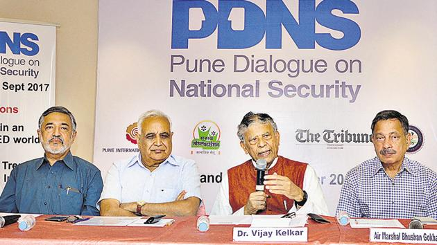 Renowned economist and vice president of PIC Vijay Kelkar addressing a press conference in Pune on Monday.(HT PHOTO)