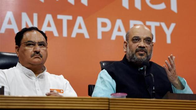 Union health minister JP Nadda remains BJP president Amit Shah's favourite for the chief minister's post, but party's leadership fear that the transition may not be as smooth as they want it to be.(PTI FILE PHOTO)