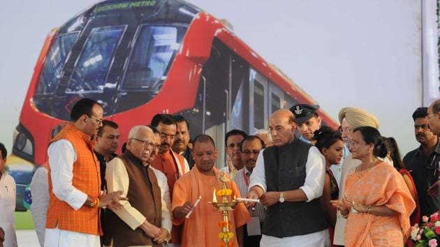 Union Home Minister Rajnath Singh, Chief Minister of UP Yogi Adityanath and UP Governor Ram Naik at the inauguration of the Lucknow Metro Rail service on Tuesday.(HT PHOTO)