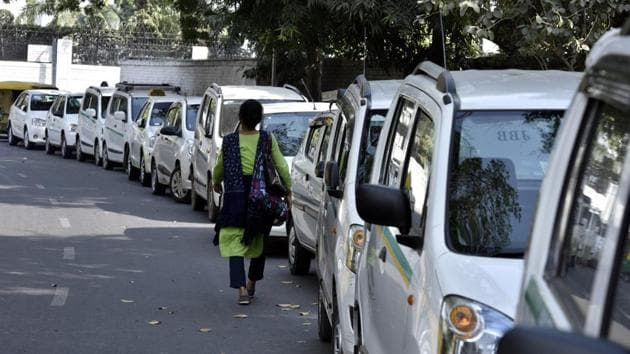 Cabs in Delhi will get permits only if drivers put the stickers informing passengers about the car's child-lock system.(Arun Sharma/HT File Photo)