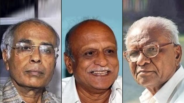 Combination image of MM Kalburgi (centre), Govind Pansare (right) and Narendra Dabholkar (left).