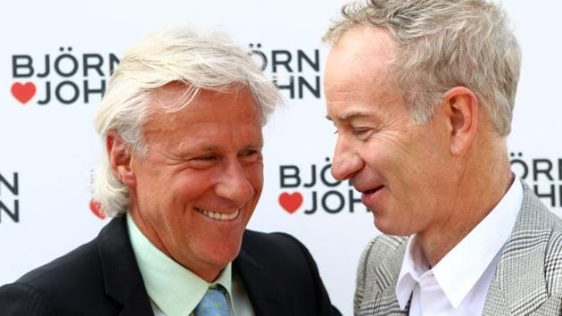 Bjorn Borg (left) and John McEnroe have had some memorable clashes over the year with the best being the 1980 Wimbledon final, on which the film, Borg McEnroe is made.(Getty Images)