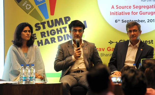 Former India cricket team captain Sourav Ganguly at the event on Wednesday.(Parveen Kumar/HT)
