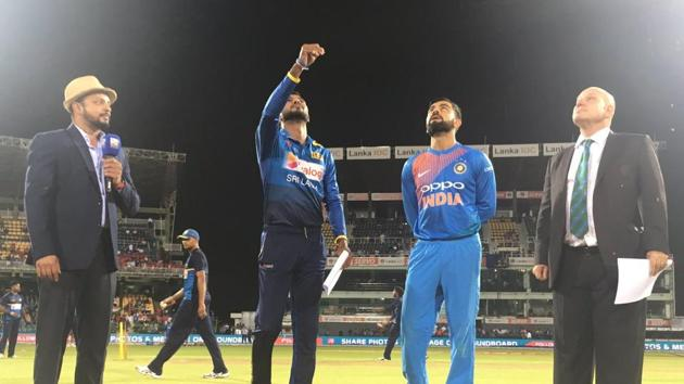 Virat Kohli slammed his 17th fifty as India defeated Sri Lanka by seven wickets to win the one-off T20I.(Twitter)