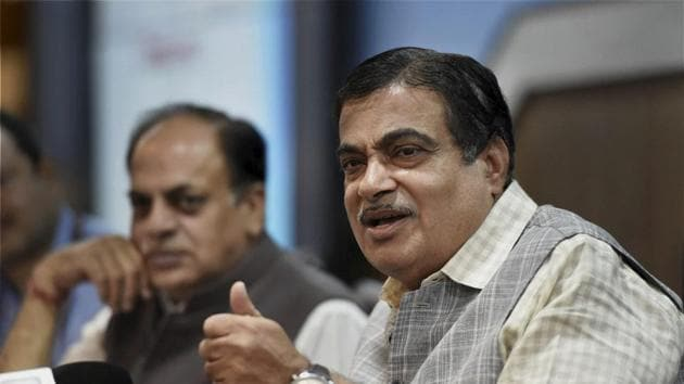 Union Minister of Road Transport and Highways at a press conference in New Delhi on Wednesday.(PTI Photo)