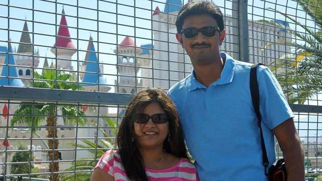 In this undated file photo, Srinivas Kuchibhotla (right) poses with his wife Sunayana Dumala. Kuchibhotla was killed and his colleague Alok Madasani was injured when a white man yelled racial slurs and opened fire at them in a bar in Kansas in February 2017.(AP)