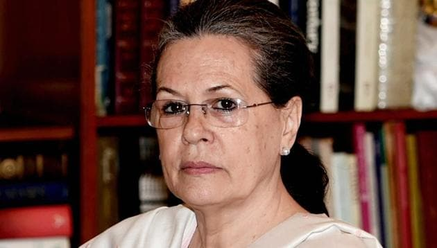 Congress president Sonia Gandhi at a Congress Working Committee (CWC) Meeting at 10 Janpath in New Delhi.(PTI)