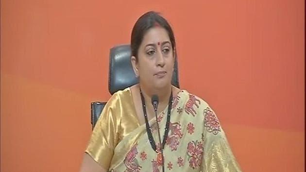 Union minister Smriti Irani addresses media in New Delhi.(ANI Photo)