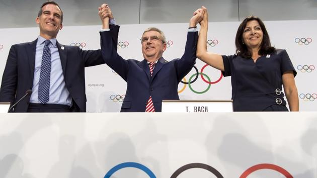 Paris has won the rights to host the 2024 Olympic Games while Los Angeles will host the 2028 Olympics in a situation described as 'win-win-win' by the International Olympic Committee.(AP)