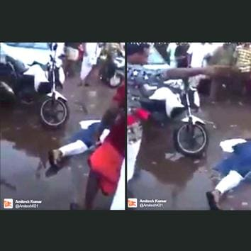On Wednesday, a video showing a BJP woman supporter being allegedly murdered in Kerala surfaced on social media. Only, it is fake!(@AmiteshK01 Twitter page)