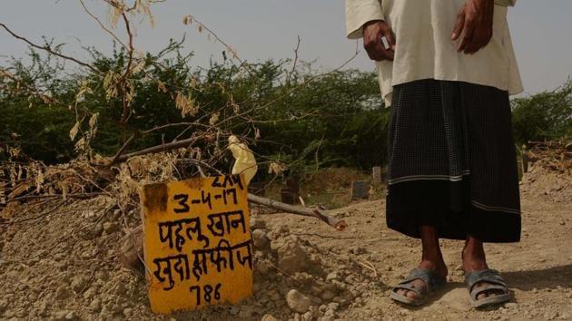 Pehlu Khan's grave opposite to his house in Jaisinghpur, Nuh.(HT Photo)