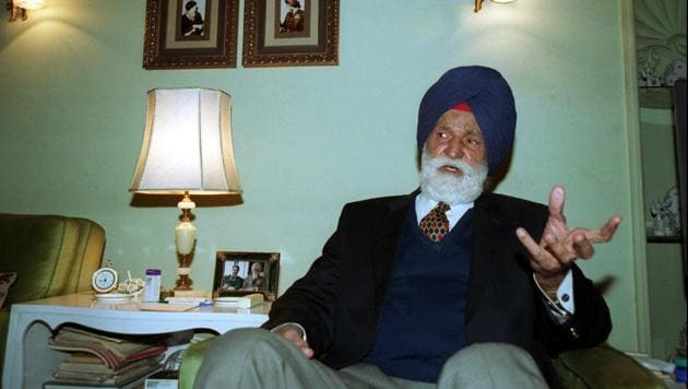 File photo of Marshal of Indian Air Force Arjan Singh.(HT Photo)