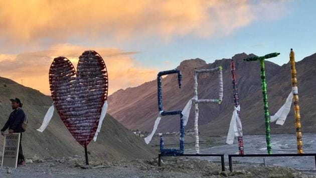 The 'I love Spiti' installation was unveiled at Nath's first Instagram meet at 12,000+ feet in Kaza.(Shivya Nath's Facebook page)