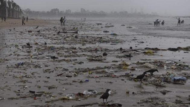 Trash along Mumbai's Juhu beach(HT File)