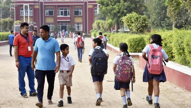 Students at Ryan International School, Bhondsi, after it reopened after 10 days on Monday. The school has been closed again for four days.(Sanjeev Verma/HT PHOTO)