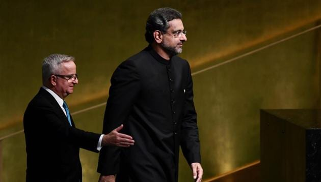 Pakistan's Prime Minister Shahid Khaqan Abbasi arrives to address the 72nd Session of the United Nations General assembly at the UN headquarters in New York on September 21.(AFP)