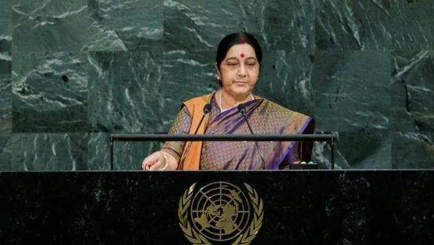 External affairs minister Sushma Swaraj addresses the 72nd United Nations General Assembly at the UN headquarters in New York.(REUTERS)