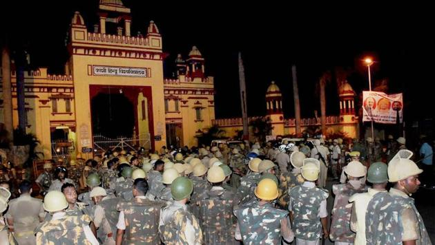Heavy police personnel deployed at Banaras Hindu University where students were holding a protest in Varanasi, late Saturday night. Female students at the prestigious University were protesting against the administration's alleged victim-shaming after one of them reported an incident of molestation on Thursday(PTI)