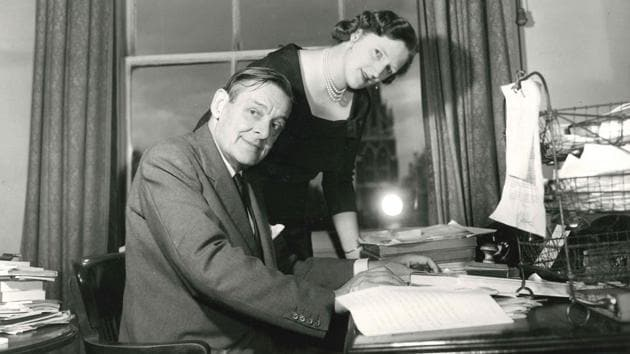 American-born British poet, playwright and essayist, T. S. Eliot (1888 - 1965), with his second wife, Valerie Eliot (1926 - 2012), August 1958(Daily Express /Hulton Archive/Getty Images)
