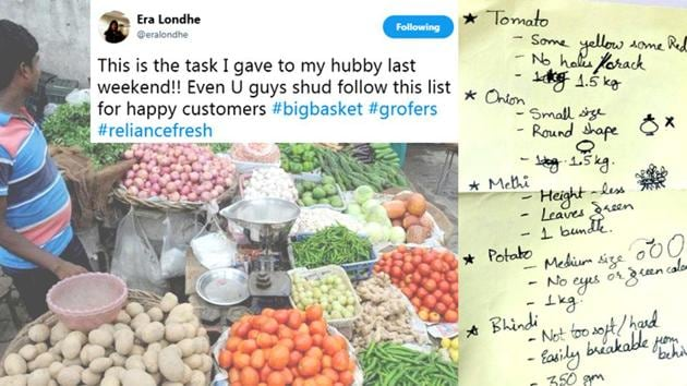 This woman's hilarious grocery list for her husband is going viral(Era Londhe/Twitter)
