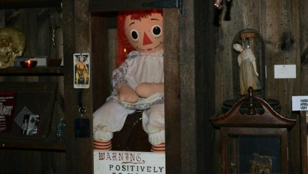 """Positively do not open,"" reads the message under the cabinet in which Ed and Lorraine put the possessed Annabelle doll."