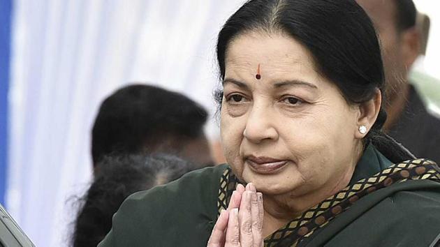 Former Tamil Nadu chief minister J Jayalalithaa.(Raj K Raj/HT File Photo)