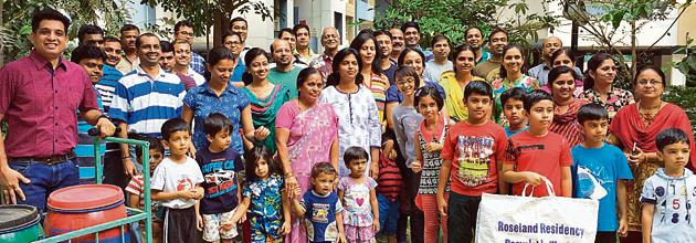 Roseland Society in Pimple Saudagar won the award for its sustained innovative techniques in waste management.(HT Photo)