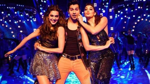 Varun Dhawan, Taapsee Pannu and Jacqueline Fernandez in a still from Judwaa 2.