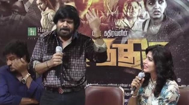T Rajendar, father of popular actor Simbu, made actor Dhansika cry onstage.