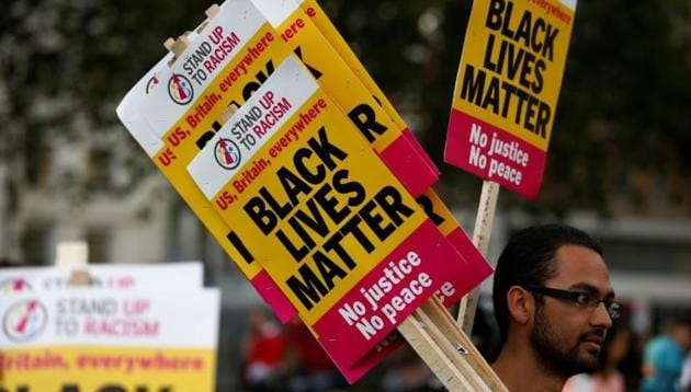'Black Lives Matter' placards at a demonstration in London, Britain August 5, 2016.(Reuters File Photo)