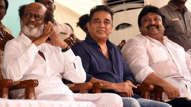 Tamil actors Rajnikanth and Kamal Haasan at the inaugural of the Shivaji Ganeshan memorial in Chennai on Sunday.(HT Photo)