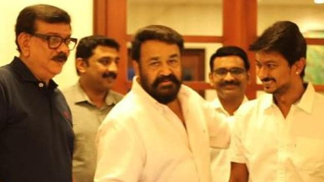 Mohanlal at the launch of Priyadharshan and Udhayanidhi Stalin's upcoming film.(Youtube)